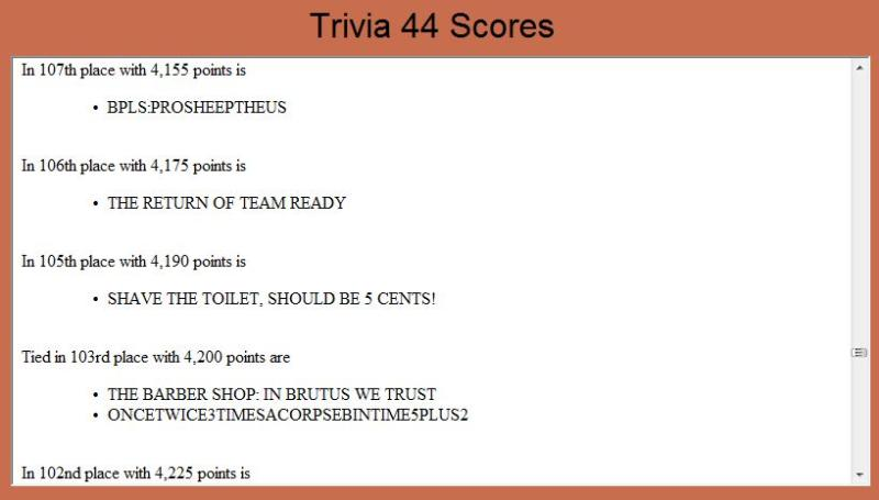Trivia Results